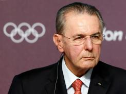 President of the IOC Jacques Rogge speaks to the media during a press conference at Olympic Park on Saturday in London.