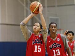 U.S. forward Candace Parker, left and center Sylvia Fowles, right, give the Americans an advantage in the size department.