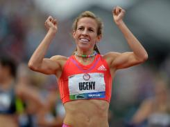 Morgan Uceny, celebrating her victory in the 1,500 at the U.S. Olympic trials, was ranked No. 1 in the world in the event last year.