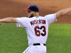 Cleveland Indians starting pitcher Justin Masterson delivers in the fourth inning against the Baltimore Orioles at Progressive Field.