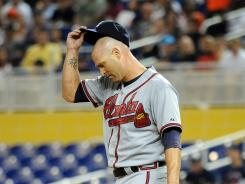 Atlanta Braves starting pitcher Tim Hudson during the first inning against the Miami Marlins at Marlins Park.