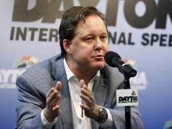 Brian France is shown speaking at Daytona International Speedway on July 6.