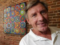 The widow of the late Olympic gold medalist Al Oerter is chair of the board of the Art of the Olympians' traveling exhibit, which is now in London.
