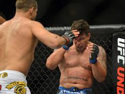 Frank Mir, right, lost to UFC heavyweight champion Junior Dos Santos in UFC 146 in May.