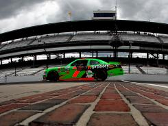 Danica Patrick drives across the famed bricks at Indianapolis Motor Speedway during Nationwide Series practice Thursday.