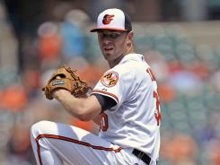 Orioles' Chris Tillman, who took a three-hitter into the seventh inning, won his third game of the season.
