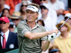 Bernhard Langer, who won the 2010 tournament at Carnoustie, had six birdies on Turnberry's Alisa Course in the first round of the Senior British Open.
