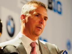 Ohio State coach Urban Meyer speaks during the Big Ten media days at the McCormick Place Convention Center in Chicago.