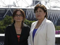 Israelis Ilana Romano, left, and Ankie Spitzer, widows of two Israeli Olympians killed at the 1972 Munich Olympics, want organizers to recognize their husbands' deaths and honor them at Olympic Stadium 40 years after the slayings.