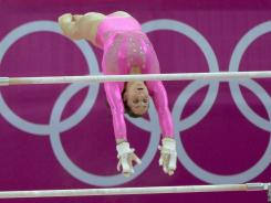 """Reigning world champion Jordyn Wieber, practicing on the uneven bars Thursday, became """"Jordannn Weee-Beer"""" when teammates used their newly acquired British accents."""