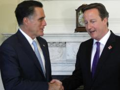 Republican presidential candidate, former Massachusetts Gov. Mitt Romney meets with British Prime Minister David Cameron at 10 Downing Street in London.