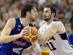 Spain's Pau Gasol, left, and the USA's Kevin Love battle during an exhibition game July 24.