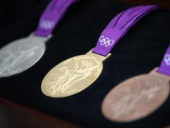 The London Olympic medals are displayed at the Olympic Park on Wednesday.