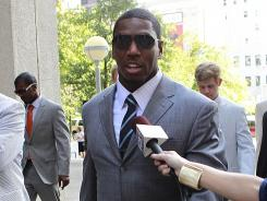 Suspended Saints linebacker Jonathan Vilma arrives to testify at Federal Court on Thursday in New Orleans.