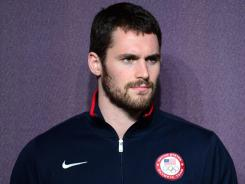 USA forward Kevin Love talks during a press conference in preparation for the 2012 London Olympic Games at the Main Press Center.
