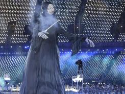 Voldemort towers over the stage during the opening ceremony in London.