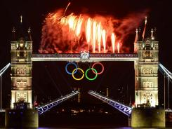 Fireworks illuminate the Tower Bridge in London during the opening ceremony.