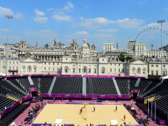 The beach volleyball venue, at iconic Horse Guards Parade, is within sight of many of London's biggest landmarks.