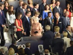 London, United Kingdom; Queen Elizabeth II takes her seat during the Opening Ceremony for the 2012 London Olympic Games at Olympic Stadium. Mandatory