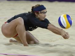 Misty May-Treanor opted for long sleeves because of the cool conditions at the beach volleyball venue.