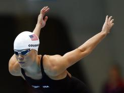 Natalie Coughlin prepares to compete in her leg of the women's 4x100 freestyle relay heat in the London Olympics.