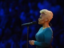 Singer Emeli Sande of Scotland performs 'Abide With Me' during the Opening Ceremony of the London Olympic Games.