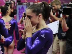 U.S. gymnast Jordyn Wieber cries after she was knocked out of contention for the all-around final.