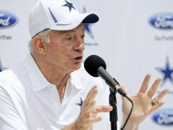 Cowboys owner Jerry Jones speaks during a news conference at training camp Sunday in Oxnard, Calif.