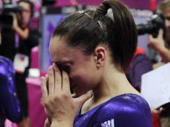 London, United Kingdom; Jordyn Wieber (USA) cries after her last routine during the women's qualifications during the London 2012 Olympic Games at North Greenwich Arena.