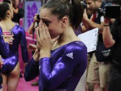American Jordyn Wieber cries after her last routine during the women's all-around gymnastics qualifications at the Olympic Games.