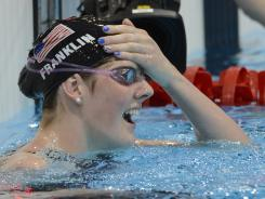 London, United Kingdom; Missy Franklin (USA) reacts after winning the women's 100m backstroke finals during the London 2012 Olympic Games at Aquatics Centre.