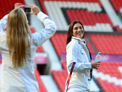 USA women's soccer goalie Hope Solo poses for a photo during a walk through of Old Trafford leading up to a game against Korea in the 2012 London Olympic Games.