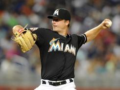 Marlins pitcher Wade LeBlanc is 1-1 with a 1.15 ERA as a reliever this season.