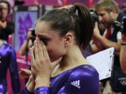 U.S. gymnast Jordyn Wieber cries after falling short of qualifying for the all-around competition.