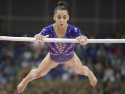 The uneven bars routine by American gymnast Aly Raisman drew the attention of viewers, as did her parents' reaction from the stands.