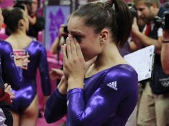 Jordyn Wieber cries after learning that she did not qualify for the all-around final.