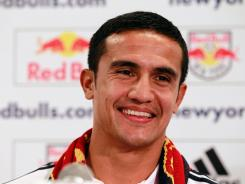 Tim Cahill addresses the media during a press conference announcing his signing with the New York Red Bulls.