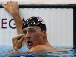 USA swimmer Ryan Lochte reacts after finishing fourth in the men's 200-meter freestyle finals.