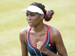 Venus Williams of the USA takes her first step toward a fourth Olympic gold medal with a first-round victory Monday against celebrates Sara Errani of Italy.
