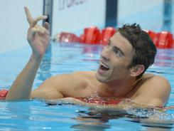 London, United Kingdom; Michael Phelps (USA) reacts after winning the men's 4x200m freestyle relay finals during the London 2012 Olympic Games at Aquatics Centre.