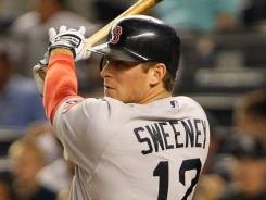 Red Sox outfielder Ryan Sweeney hurt his left hand in Monday's game after a bizarre incident.