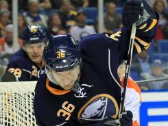 Buffalo Sabres right wing Patrick Kaleta (36) will get a $300,000 raise from last season.