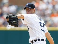 Power arm: Jacob Turner, shown July 22 playing for the Tigers, could be a nice addition to the Marlins staff if he gains control.