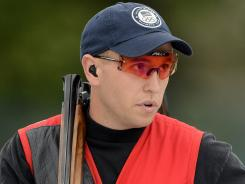 Greenwich, United Kingdom; Vincent Hancock (USA) competes in day two of the skeet men qualification during the 2012 London Olympic Games at Royal Artillery Barracks.
