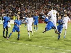 Defender Chico of Swansea City heads a ball into the goal in the 59th minute making the score 2-0 Swansea City during a game against the San Jose Earthquakes.