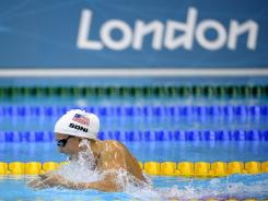United States' Rebecca Soni set a world record Wednesday in a women's 200-meter breaststroke semifinal heat at the Aquatics Centre during the 2012 Summer Olympics in London. (AP Photo/Mark J. Terrill)