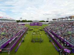 London, United Kingdom; General view of the mens team archery quarterfinals at Lord's Cricket Ground.