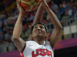 U.S. guard Angel McCoughtry shoots the ball during the preliminary game against Turkey.