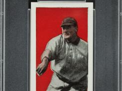 This undated file photo shows a 1910 Honus Wagner baseball card found in the attic of a house in Toledo, Ohio.