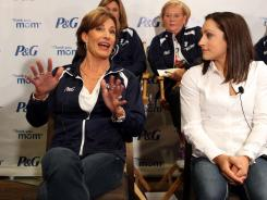 "New York, NY, USA; Olympic gymnast Jordyn Wieber (USA) (right) listens as her mother Rita Wieber (left) answers a question during the Procter & Gamble ""thank you, mom"" press conference featuring USA Olympic athletes and their mothers. Mandatory"